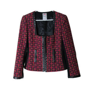 Yoana Baraschi pink pattern wool blazer zip detail